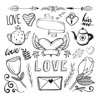 Hand drawn romantic element pack