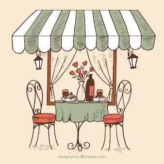 Hand drawn romantic restaurant