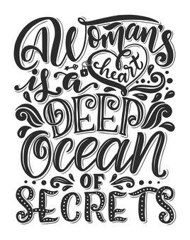 Ручной обращается романтический плакат типографии. прекрасная цитата о женщинах.