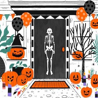 Stanza disegnata a mano decorata con elementi di halloween