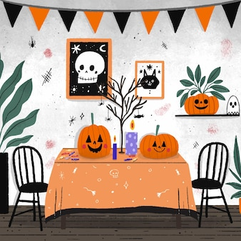 Hand drawn room decorated in halloween elements