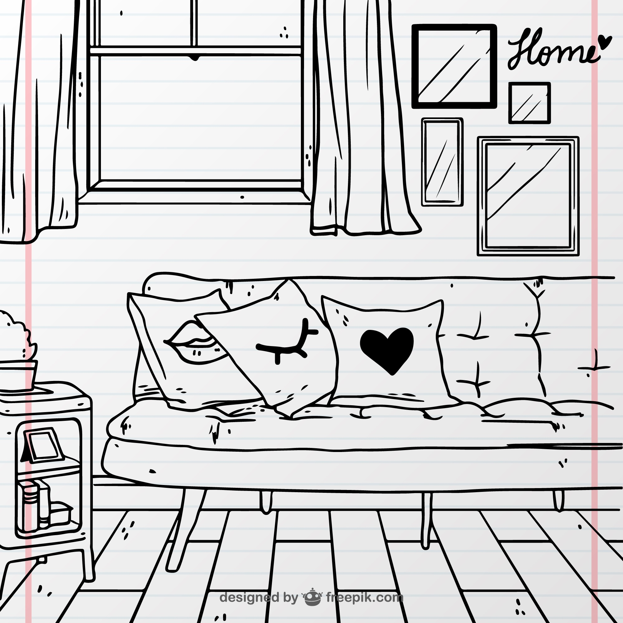 Hand-drawn room with couch and window