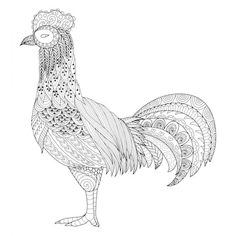 Hand drawn rooster background