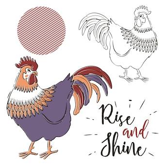 手描き雄鶏のデザイン