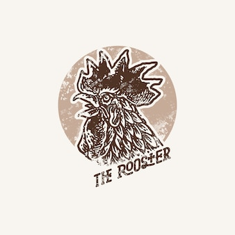 Hand drawn rooster old stamp illustration