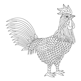 Hand drawn of rooster in zentangle style