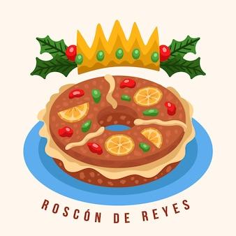 Hand drawn roscon de reyes