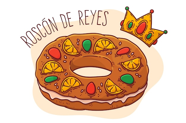 Рука нарисованные roscon de reyes