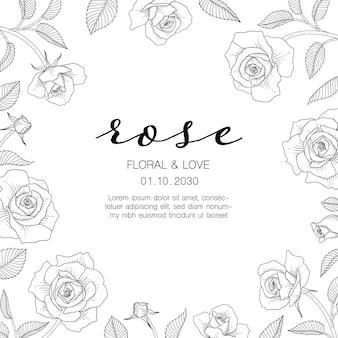 Нарисованная рукой иллюстрация цветочной поздравительной открытки розы с линией искусства на белом фоне.