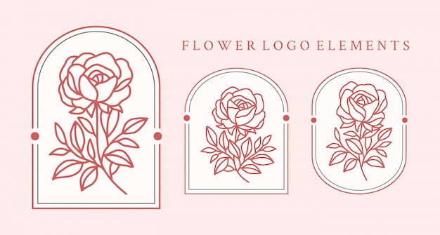 Hand drawn rose flower logo element collection
