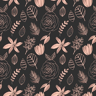 Hand drawn rose gold floral seamless pattern