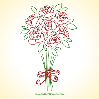 Hand drawn roses bouquet