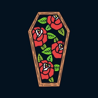 Hand drawn roses on coffin frame old school tattoo illustration