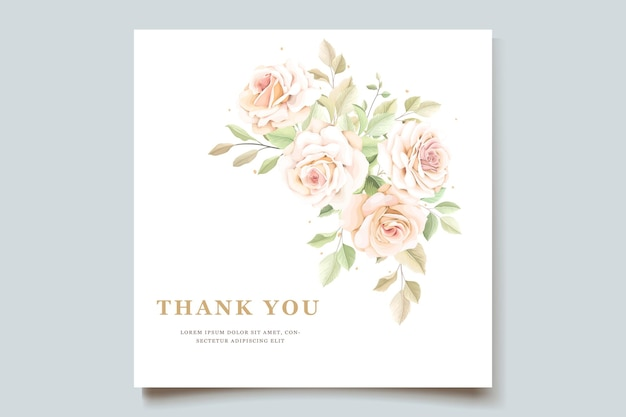 손으로 그린 장미 초대 카드 서식 파일