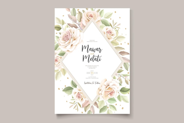 Hand drawn roses invitation card template