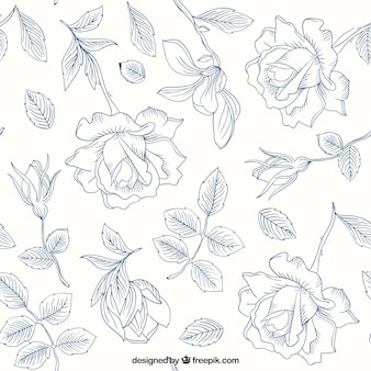 Hand drawn roses and leaves pattern Premium Vector