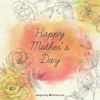 손으로 그린 장미 어머니의 날 카드