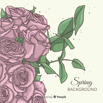 Hand drawn roses spring background