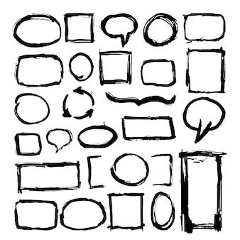 Cornici ruvide disegnate a mano isolate su bianco
