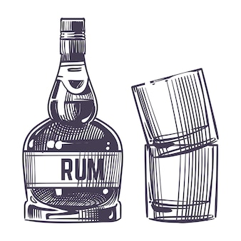 Hand drawn rum and two glasses