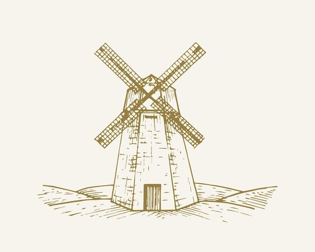 手描きの田舎の建物の風景ベクトルイラスト風車スケッチ村の製粉所の家の落書きは...
