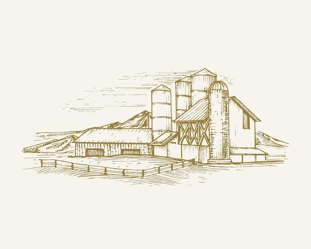 納屋の穀物エレベーターと山と手描きの田舎の建物の風景ベクトルイラストファーム... Premiumベクター
