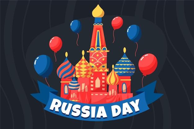 Ручной обращается день россии и воздушные шары фон