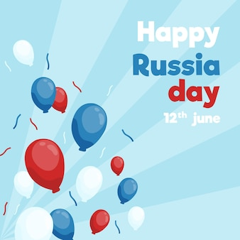 Hand drawn russia day background with balloons