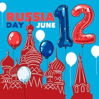 風船で手描きロシア日の背景