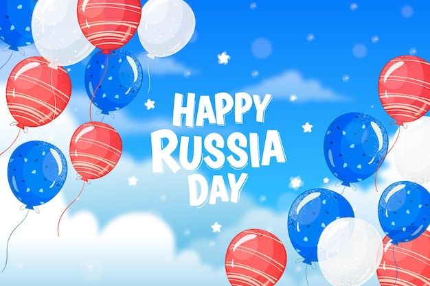 Hand drawn russia day background