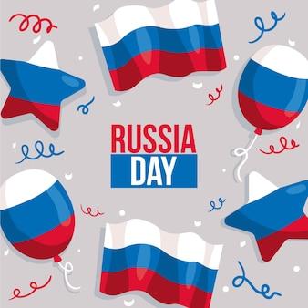 手描きのロシアの日のコンセプト