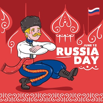 Hand drawn russia day concept