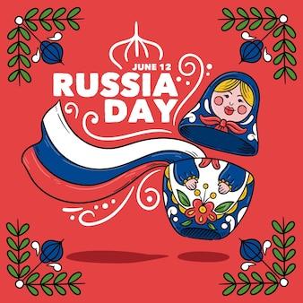 手描きロシア日コンセプト