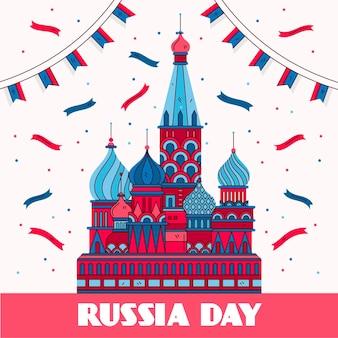 Нарисованная рукой иллюстрация дня россии Бесплатные векторы