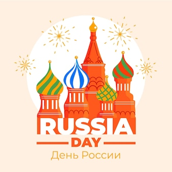 Hand drawn russia day illustration