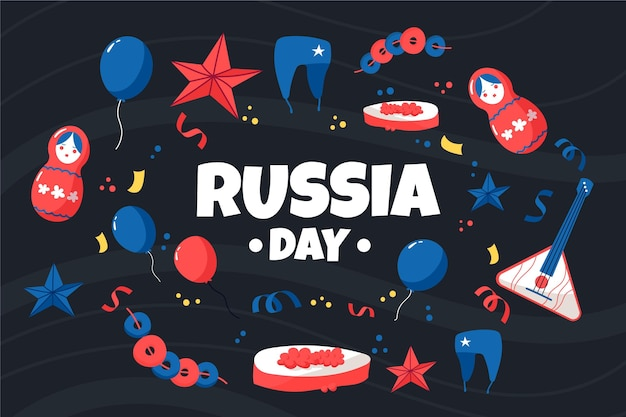 Giorno disegnato a mano della russia con il fondo tradizionale degli elementi