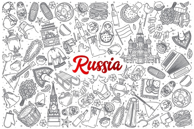 손으로 그린 러시아 낙서 빨간색 글자와 배경 설정