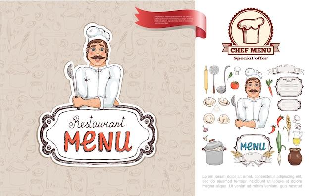Нарисованная рукой концепция ресторана русской кухни с шеф-поваром, держащим ситечко для овощей, кухонной посуды, сока, грибов, миски, супа, пельменей, иллюстрации