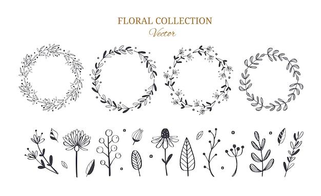 手描きの素朴で花の植物の装飾セット