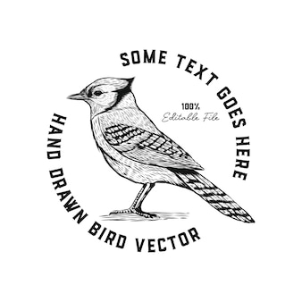 Hand drawn rustic bird