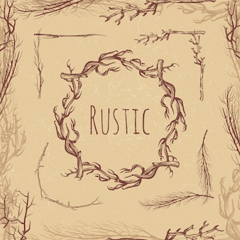 Hand drawn rustic branches vintage style
