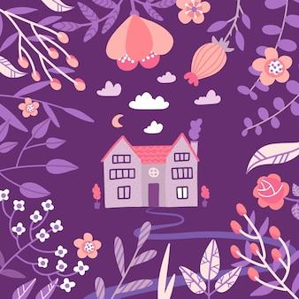 手描きの素朴な古い家と巨大な花のフレーム。
