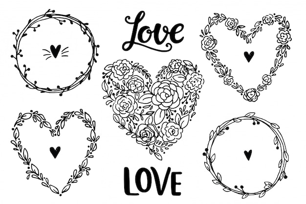 Hand drawn rustic vintage heart wreaths. floral  collection