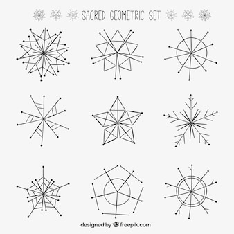Hand drawn sacred geometric set