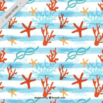 블루 브러시 획 줄무늬가 손으로 그린 선원 패턴