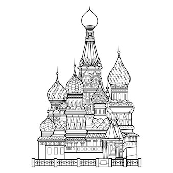 Hand drawn of saint basils cathedral in zentangle