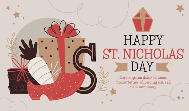手描きの聖ニコラスの日バナーテンプレート