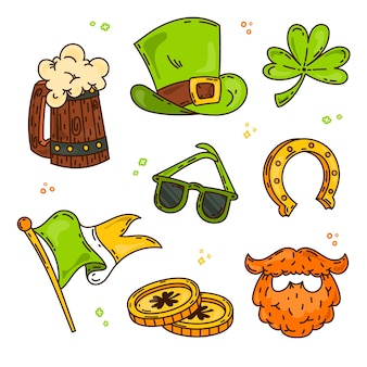 Hand drawn saint patrick's day element collection