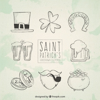 Hand drawn saint patrick's day elements