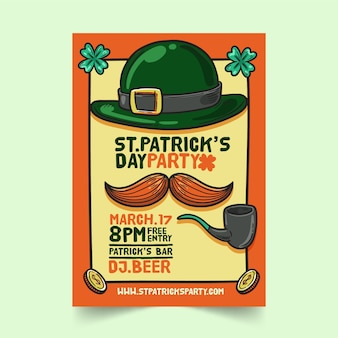 Hand drawn saint patrick's day flyer template